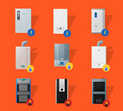 Different boilers flat icons Royalty Free Stock Images