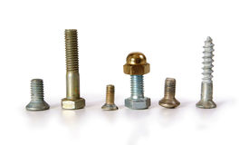 Different bolts and screws stand in a row. On the white background Royalty Free Stock Photos