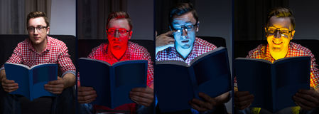 Different books, different moods. Men with book Stock Photo