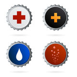 Different bottle crown caps. Illustration related to different drinks and products, as medicines, energy drinks, water or milk and coke or soda. vector file Stock Photos