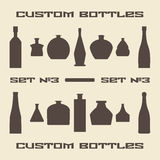 Different bottle types silhouette icon set Stock Images