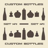 Different bottle types silhouette icon set Royalty Free Stock Images