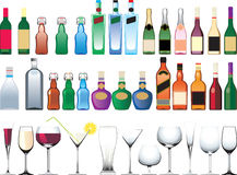 Different bottles, cups and glasses. Isolated on white Stock Photography