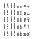 Different bottles and glasses Stock Photo