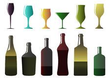 Different bottles and glasses Royalty Free Stock Image