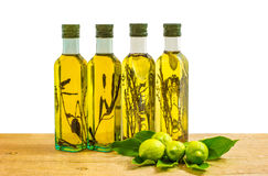 Different bottles of olive oil Stock Photos