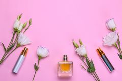 Bottles of perfume and beautiful flowers eustoma on a bright pink background. Women`s accessories. top view. Different bottles of perfume and beautiful flowers royalty free stock photo