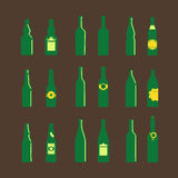 Different bottles with tags. Vector illustration stock illustration
