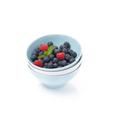 Different bowls clean and fresh berries, isolated Royalty Free Stock Photo