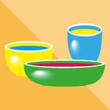 Different bowls. Kitchen utensils and equipment icon. Various cooking utensils and crockery. Conditional color image Royalty Free Stock Photography