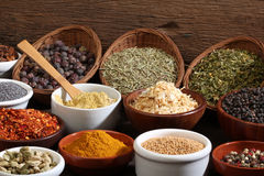 Different bowls of spices royalty free stock image