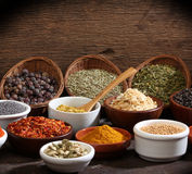 Different bowls of spices royalty free stock photos