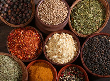 Different bowls of spices royalty free stock photo