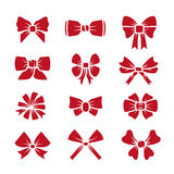 Different bows red icons vector set Stock Images