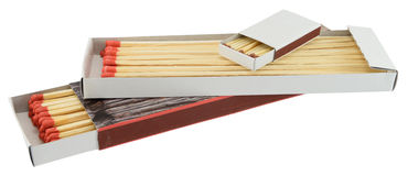 Different box of matches. Big and small size matches isolated on white Stock Photo