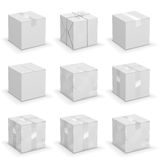 Different boxes. Vector set of 9 different cardboard  boxes, old, worn and brand new Royalty Free Stock Photos