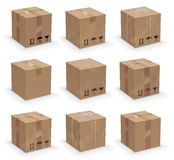 Different boxes. Vector set of 9 different cardboard  boxes, old, worn and brand new Royalty Free Stock Photography