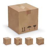 Different boxes. Vector set of different cardboard  boxes, old, worn and brand new Royalty Free Stock Images