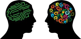 Different brain in heads. Black silhouette of man head with brain. eps10 Royalty Free Stock Photo