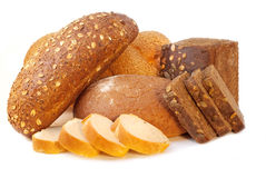 Different bread. Arranged on table close up Royalty Free Stock Image