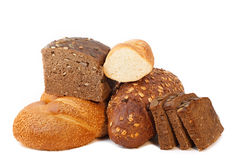 Different bread. Arranged on table close up Stock Images