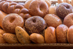 Different bread. On bread background close view Royalty Free Stock Image