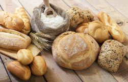 Different bread and bread slices. Stock Image