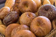 Different bread. In bucket close view Royalty Free Stock Photo