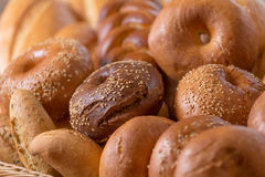 Different bread. In bucket close view stock image