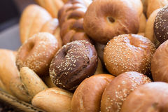 Different bread. In bucket close view stock photos