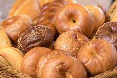 Different bread. In bucket close view royalty free stock images