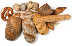 Different bread products, above view. Royalty Free Stock Photos