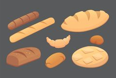 Different breads and bakery products vector illustrations. Buns for breakfast. set bake food isolated Stock Photo