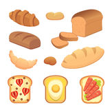 Different breads and bakery products vector illustrations. Buns for breakfast. set bake food and toast . Stock Images