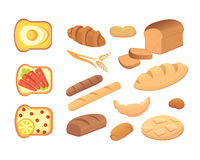 Different breads and bakery products vector illustrations. Buns for breakfast. set bake food and toast . Stock Photo