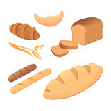 Different breads and bakery products vector illustrations. Buns for breakfast. set bake food and toast isolated. Royalty Free Stock Images