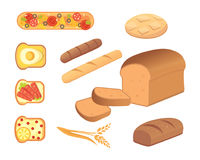 Different breads and bakery products vector illustrations. Buns for breakfast. set bake food and toast isolated. Stock Photography