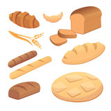 Different breads and bakery products vector illustrations. Buns for breakfast. set bake food and toast isolated. Royalty Free Stock Photography