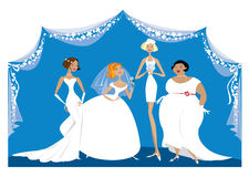 Different brides. Vector cartoon of a group of different brides Royalty Free Stock Photo
