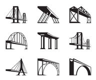Different bridges in perspective Stock Images
