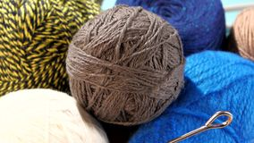 Different bright yarn balls with spokes, rotation stock video