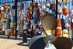 Different brightly colored floats are used to mark crab pots. These different brightly colored floats are used to mark crab pots and help float off shore fishing Stock Photos