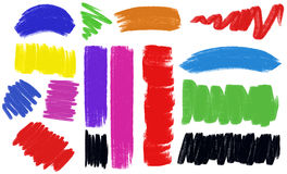 Different brush strokes in many colors Stock Image