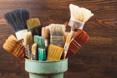 Different brushes in the bucket Royalty Free Stock Image