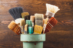 Different brushes in the bucket Stock Photography