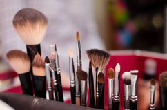 Different brushes for makeup. Bright picture with large and small brushes for makeup Stock Photo