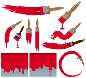 Different brushstrokes of paintbrush in red. Illustration Stock Photos