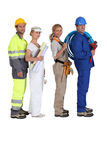 Different building trades. Four people and their different building trades Stock Photos