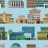 Different buildings hotels for tourist and travalers places vacation time apartment urban town facade vector seamless. Different buildings hotels for tourist and Royalty Free Stock Photography