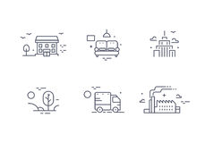 Different buildings icon set for real estate agency. Property collection. Thin line design. Flat style. Different buildings icon set for real estate agency Royalty Free Stock Image